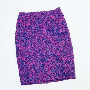 Ann Taylor Paisley Pencil Skirt Size 2
